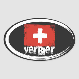 Verbier Grunge Flag Oval Sticker