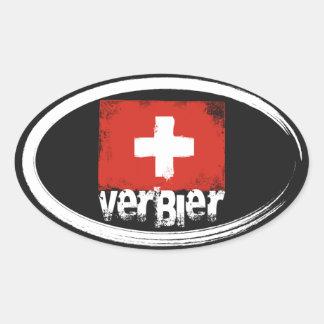 Verbier Grunge Flag Oval Sticker