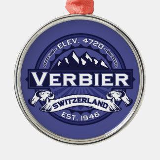 Verbier Logo Midnight Silver-Colored Round Decoration