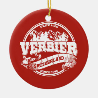 Verbier Old Circle Red Round Ceramic Decoration