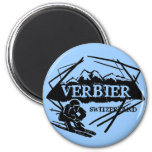 Verbier Switzerland blue ski logo magnet