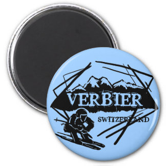 Verbier Switzerland blue ski logo magnet