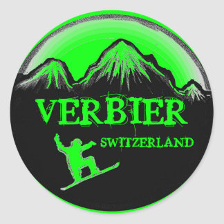 Verbier Switzerland green snowboard stickers