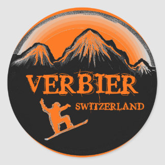 Verbier Switzerland orange snowboard stickers