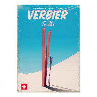 Verbier, Switzerland vintage ski travel poster. Poster