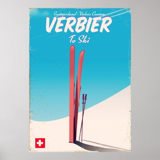 Verbier, Switzerland vintage ski travel poster. Poster