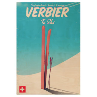 Verbier, Switzerland vintage ski travel poster. Wood Poster
