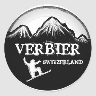 Verbier Switzerland white black snowboard stickers