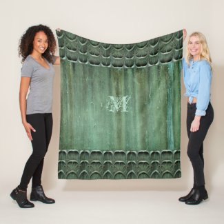 Verdegris Bronze Leaf Pattern Fleece Blanket