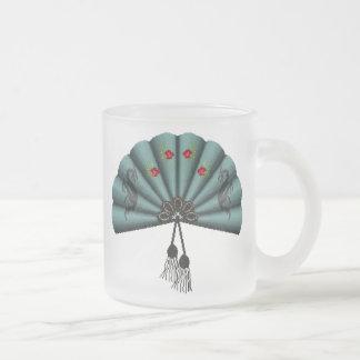 Verdigris Green Dragon Fan Pixel Art 10 Oz Frosted Glass Coffee Mug