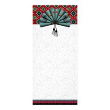 Verdigris Green Dragon Fan Pixel Art Personalized Rack Card