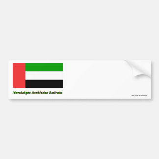 Vereinigte Arabische Emirate Flagge mit Namen Car Bumper Sticker