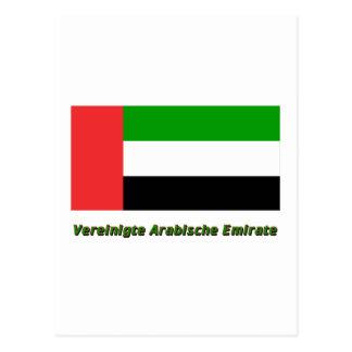 Vereinigte Arabische Emirate Flagge mit Namen Postcards
