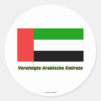 Vereinigte Arabische Emirate Flagge mit Namen Round Sticker
