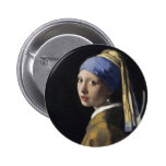 Vermeer Painting - Girl With a Pearl Earring 6 Cm Round Badge