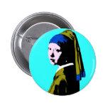 Vermeer' Pearl Earring  ala Warhol Button
