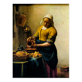 Vermeer s Maidservant Pouring Milk circa 1660 Postcards