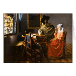 Vermeer The Glass of Wine Greeting Card