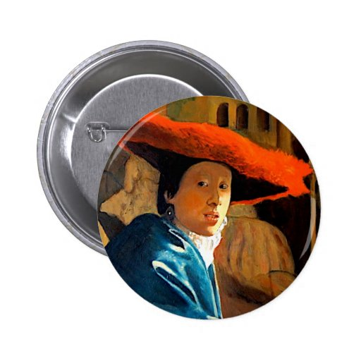 VERMEER'S GIRL WITH THE RED HAT/ OLD MASTERS 6 CM ROUND BADGE