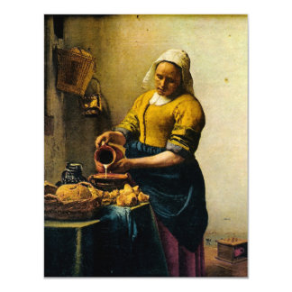 "Vermeer's Maidservant Pouring Milk (circa 1660) 4.25"" X 5.5"" Invitation Card"