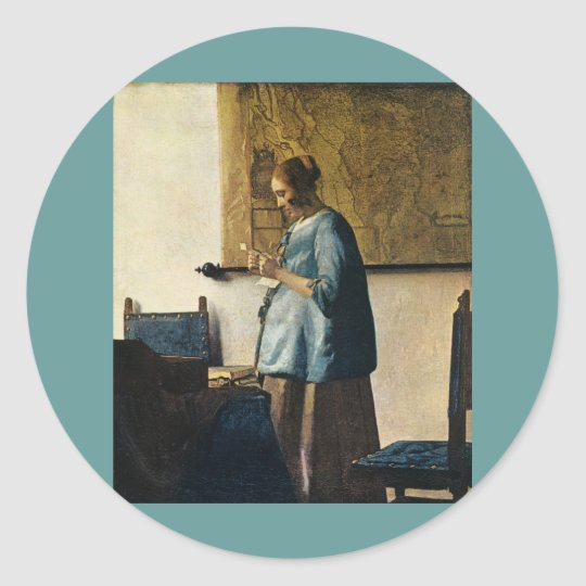 Vermeer's Woman in Blue Reading a Letter ca.1665 Round Sticker