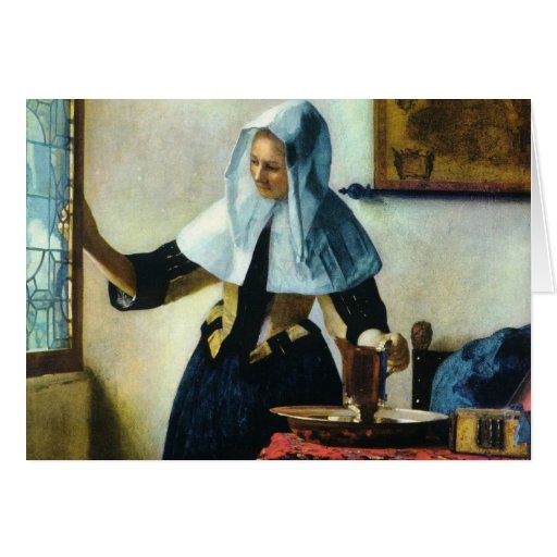 Vermeer's Young Woman with a Water Pitcher ca 1665 Greeting Card