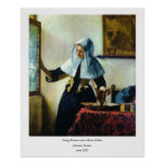 Vermeer's Young Woman with a Water Pitcher ca 1665 Poster