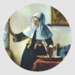 Vermeer's Young Woman with a Water Pitcher ca 1665 Round Stickers