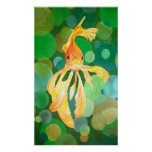 Vermilion Goldfish Swimming In Green Sea of Bubble Poster