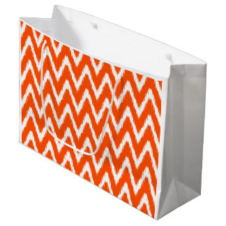 Vermillion Asian Moods Ikat Chevrons Large Gift Bag