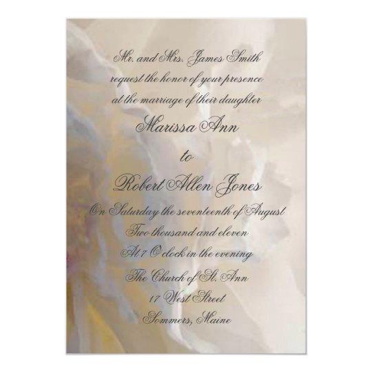 Vermillion White Peony Petals Wedding Invitation