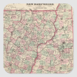 Vermont and New Hampshire 2 Square Sticker