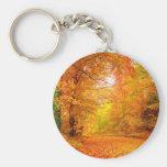 Vermont Autumn Nature Landscape Basic Round Button Key Ring