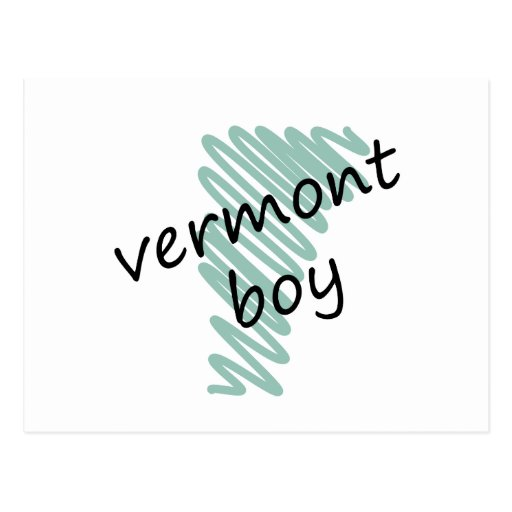 Vermont Boy on Child's Vermont Map Drawing Post Card