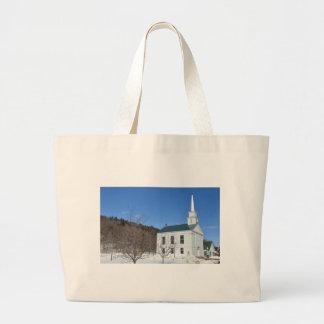 Vermont Church. Canvas Bags