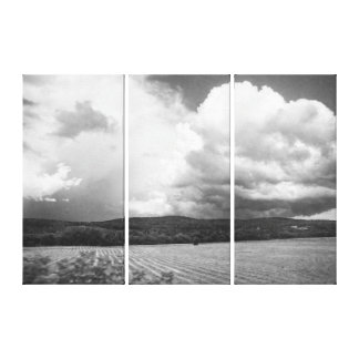 Vermont Clouds and Field Black and White Triptych Canvas Print