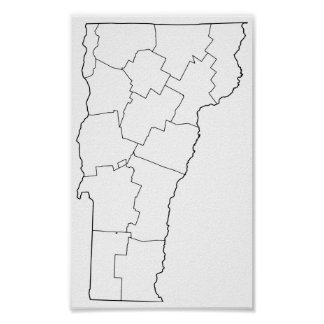 Vermont Counties Blank Outline Map Poster