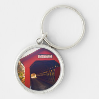 vermont covered bridge in fall key ring