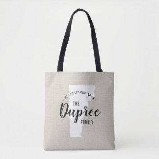 Vermont Family Monogram State Tote Bag