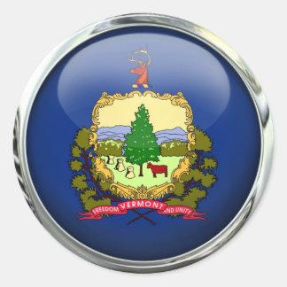 Vermont Flag Glass Ball Classic Round Sticker
