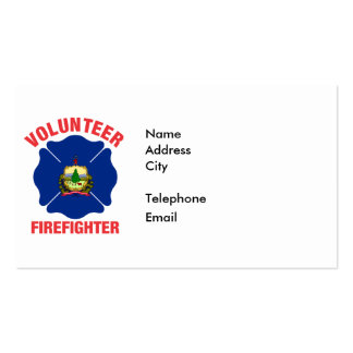 Vermont Flag Volunteer Firefighter Cross Pack Of Standard Business Cards