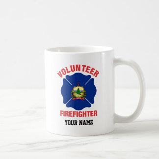 Vermont Flag Volunteer Firefighter Cross Classic White Coffee Mug