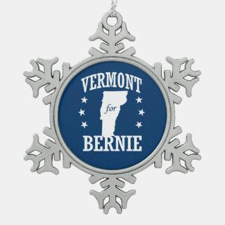 VERMONT FOR BERNIE SNOWFLAKE PEWTER CHRISTMAS ORNAMENT