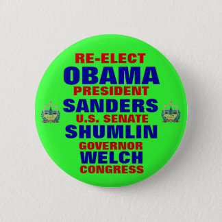 Vermont for Obama Shumlin Sanders Welch 6 Cm Round Badge