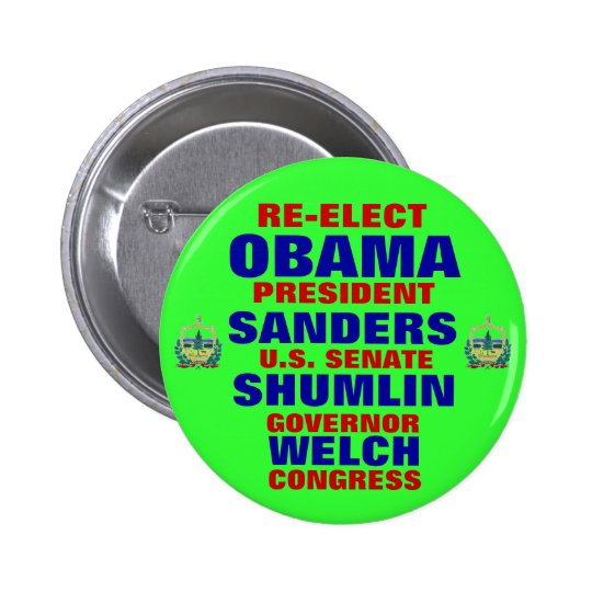 Vermont for Obama Shumlin Sanders Welch 6 Cm Round Badge