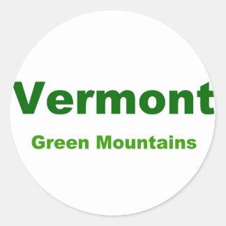 Vermont-green mountains classic round sticker