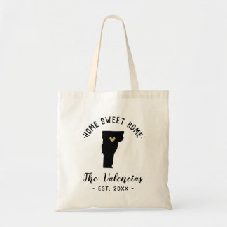 Vermont Home Sweet Home Family Monogram Tote Bag