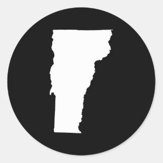 Vermont in White and Black Classic Round Sticker