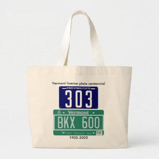 Vermont license plate centennial canvas bags