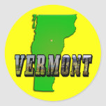 Vermont Map and Picture Text Round Sticker